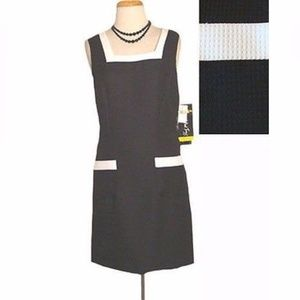 New All That Jazz Dress Black Textured White Trim